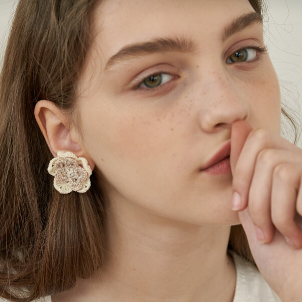 자체브랜드#[MERRYMOTIVE] Elegant double flower earring_MX9XX0020