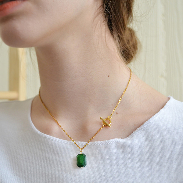 NUAVO(누아보)#[NUAVO]  green glass necklace_MX0XB035